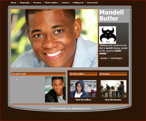 actor Mandell Butler Web Site Graphic